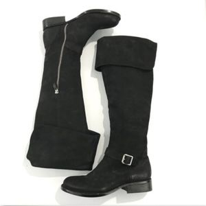 Vince Camuto Black Pebbled Leather Knee High Boots